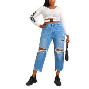 SHEIN High-Rise Distressed PLUS Jeans NEW 1X 💟